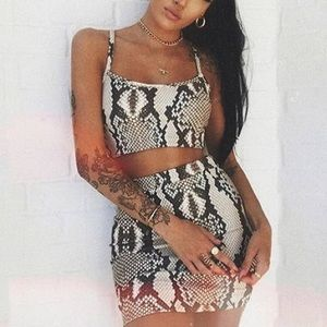Snakeskin Skirt Two Piece Set